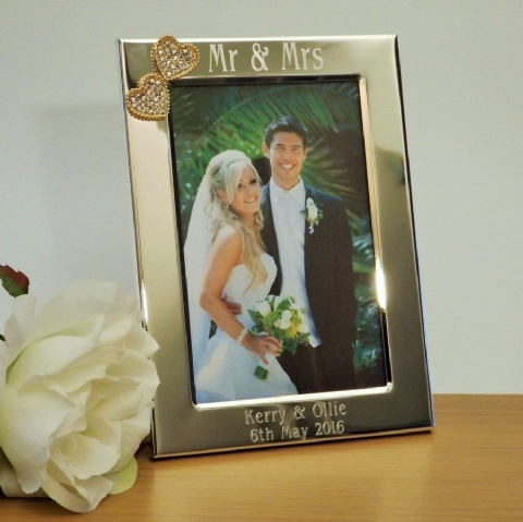 Mr & Mrs Photo Frame Gold Diamante Hearts Personalised Wedding Gift